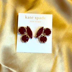 NWT DARK RED KATE SPADE STATEMENT EARRINGS FIRM